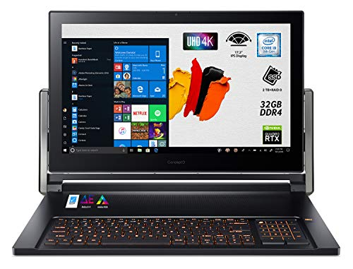 ConceptD 9 Pro CN917-71P-978Q Notebook con Processore Intel Core i9-9980HK, Ram 32 GB, 1024 GB + 1024 GB PCIe NVMe SSD, Display 17' UHD IPS Touch, NVIDIA Quadro RTX 5000 16 GB, Windows 10 Professional