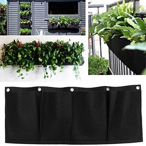 YSNMM Horizontal 4 Bolsillos Living Jardinera De Pared Interior Jardinera De Jardín Poliéster Montado En La Pared Jardinería Doméstica Bolsas para Plantar Flores