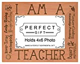ThisWear Teacher Appreciation Gift I am a Teacher Poem Natural Wood Engraved 4x6 Landscape Picture Frame Wood