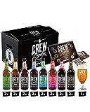 CREW REPUBLIC Cerveza Artesanal Mix Tasting Set | Regalo ideal para hombres | Elaborada en Baviera según la ley de pureza de Alemania | Incluye vasos de cata y notas de cata (16 X 0,33I)