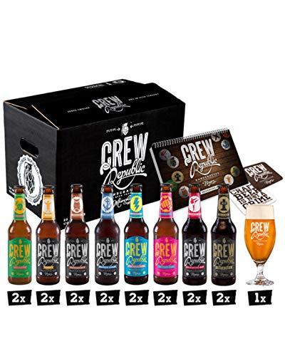 CREW Republic Craft Beer Gift Mix Box, assortiment de variétés incl. Verre à bière et notes de dégustation (16 x 0,33 l)