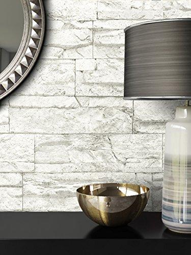 Steintapete Vlies Weiß | schöne edle Tapete im Steinmauer Design | moderne 3D Optik für Wohnzimmer, Schlafzimmer oder Küche inklusive der Newroom-Tapezier-Profibroschüre mit Tipps für perfekte Wände
