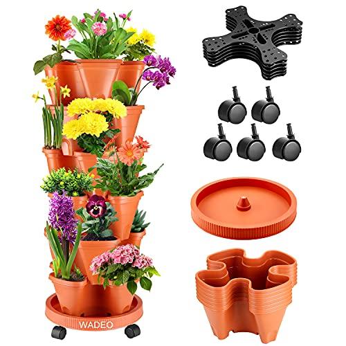 WADEO 6 macetas de fresa tridimensionales macetas apilables multicapa para balcón, jardín, interior y exterior
