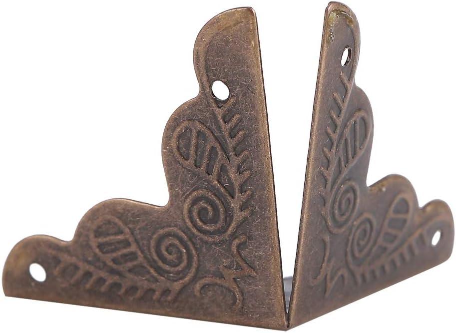 Protectores decorativos de esquina Fydun 12pcs Caja de madera Caja de regalo de joyer/ía Protectores decorativos de esquina Protector de cubierta de borde de hierro Bronce verde