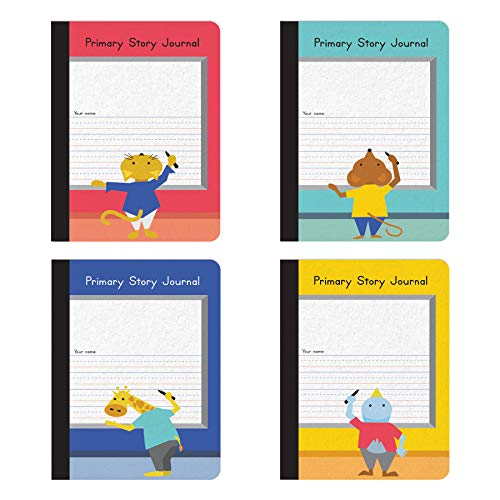Oxford Primary Composition Notebooks, Kids Handwriting & Drawing Story Journal, Pre-K, Grades K-2, 100 Sheets/200 Pages, 9 3/4 x 7 1/2, 4/Pack (63784)