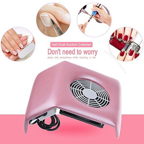 Vinteky® Aspirador para Polvo de Uñas Aspirador para uñas Succión Colector de polvo para Manicura y Pedicura Profesional Limpieza para Colección de Polvo de Uñas Clavo Art Herramientas (Rosa)
