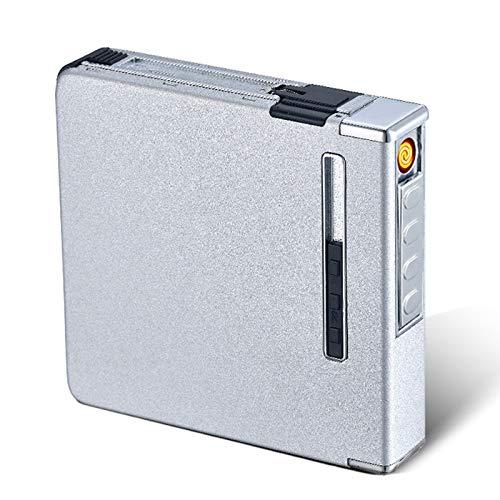 Mauel Caja Cigarrillos, USB de Cigarrillos Caso, Caja de Cigarrillos con Encendedor Electrico Sin Llama Recargable USB 20 Unidades Cigarrillos Regulares Regalos de cumpleaños,Plata