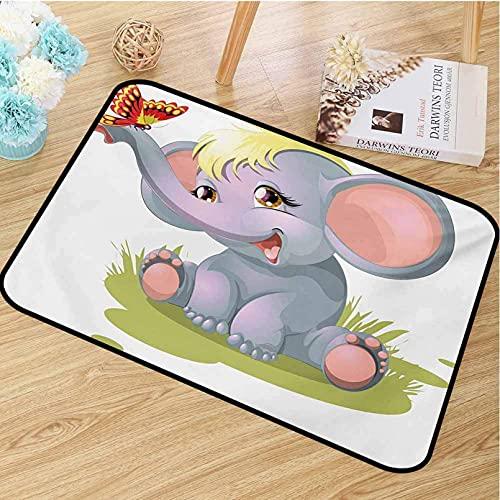 N/A Impresión 3D De Alfombrillas Elefante Alfombra De Entrada De Grado Infantil Animal Recién Nacido Mascota Divertida Marioneta Cabello Amarillo Diversión Felicidad Mariposa para