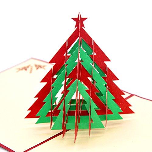 medigy Tarjetas de Navidad Tarjeta de felicitación pop up 3d hecha a mano, tarjeta en blanco, tarjetas, Árbol de Navidad, color Modell 3