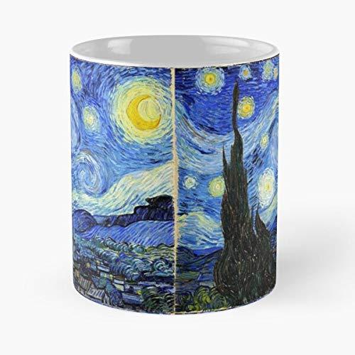 Van Painting Gogh Starry Cool Night Vincent Best Taza de café de cerámica de 315 ml, con texto en inglés 'Eat Food Bite John Best Taza de café de cerámica de 325 ml