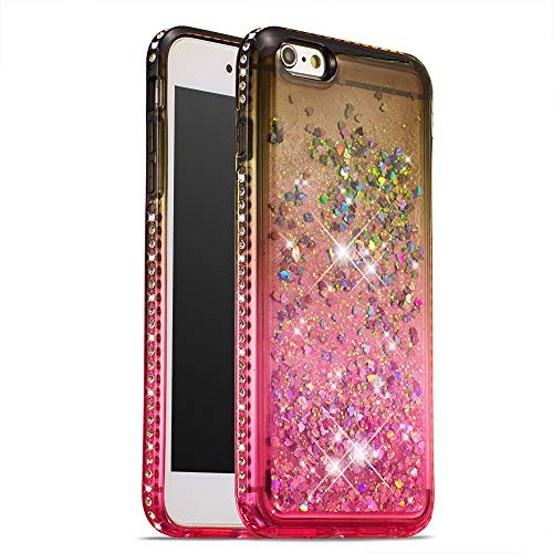 COTDINFOR iPhone 6S Plus Funda Líquido Degradado de Color Glitter Sparkle Bling Quicksand Caso Silicona Blanda Protectora Carcasa para iPhone 6+ / 6S Plus TPU Gray Pink YB.
