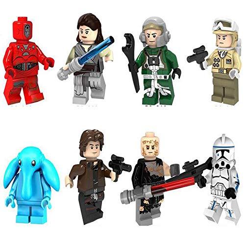 BAS Figuras Anime De Star Wars Colección Juguete para Niños The Force Awakens 8 Paquetes Soldado Asalto Imperial, Anakin Skywalker, Rey, MAX Rebo Regalo 4.5cm