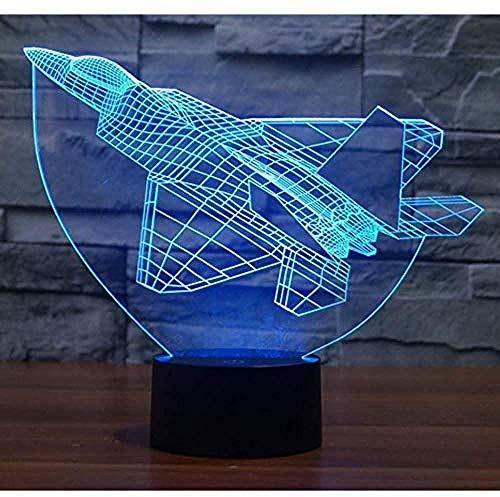 giyiohok Lampe de présentation 3D pour animation créative 3D Led Night Light Airplane avec 7 lumières de couleur pour la décoration de la maison Lumières Cartoon Illusion Character Display