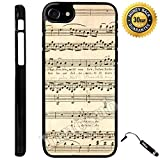 Custom iPhone 7 Case (Beethoven Music Sheets) Edge-to-Edge Plastic Black Cover with Shock and Scratch Protection | Lightweight, Ultra-Slim | Includes Stylus Pen by Innosub
