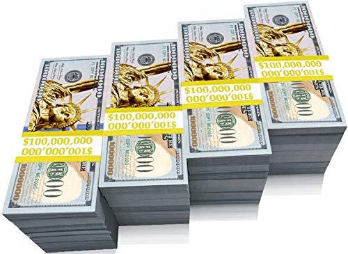 BOOSTEDBLUE 100pcs 1 Million Dollars - Gold Bill Prop Money - Motion Picture Looks Real 1million - Cash Cannon Gun Guns millon Fake Stack - Real Millions Dollar Bills Stacks - Prank Costume Billion