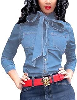 Women Denim Bow Tie Shirt - Long Sleeve Button Up Slim Crop Top Fashion Blouse Plus Size Business Clubwear