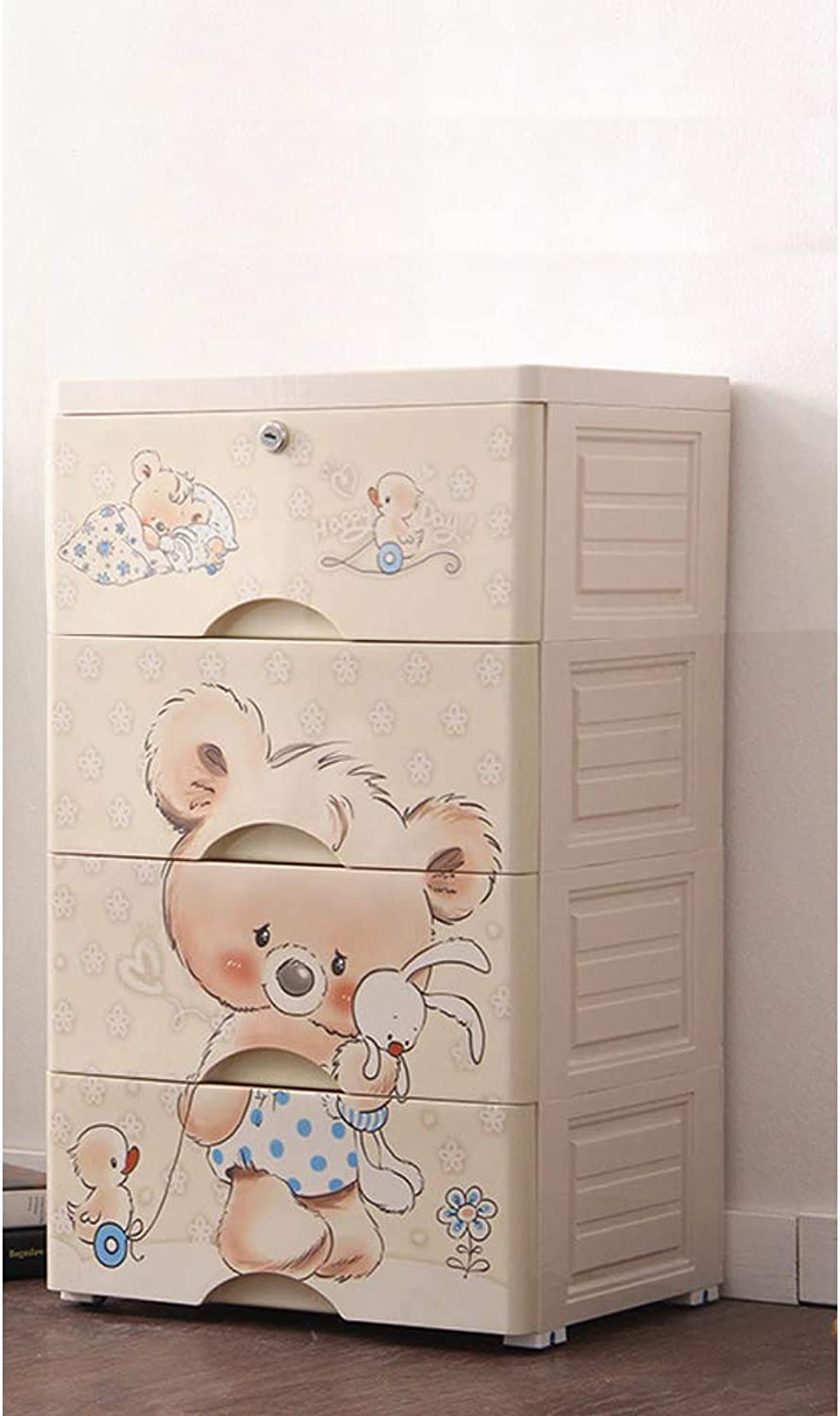Plastic Cartoon Wardrobe Sealed Khaki Storage Box Storage Box Storage Accessory Toy Large Capacity Clothes Key Diapers etc. with casters Storage case Convenient Goods Four Stages