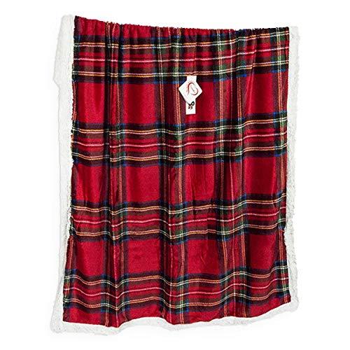 R.P. Daunex – Decke aus Lammfell, schottischer Tartan, 130 x 160 cm, Rot