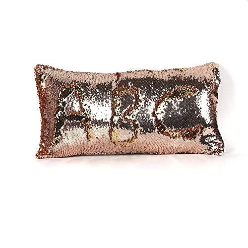 Axige888 Fundas de almohada reversibles de 12 x 24 pulgadas de lentejuelas de sirena cambian de color de sirena funda de almohada (champán y oro)