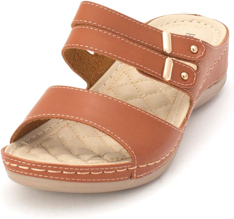Henry Ferrera Womens Comfort-AAA Open Toe Casual Slide Sandals
