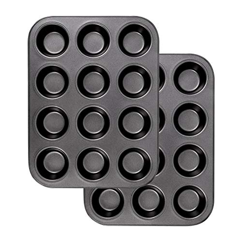 RosewineC 2 Pieces Black Carbon Steel Muffin Tray Non-Stick Cupcake Tray Muffin Pan Baking Tray for Baking,25.5 x 15 x 2.5 cm(Black)