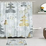 JISMUCI Duschvorhang, silbergrauer Winter mit verschiedenen Schneeflocken-Weihnachtsbäumen & goldenen Sternen grau, 2-teiliges Set mit Haken aus wasserdichtem Badezimmerdekor aus Polyestergewebe