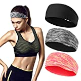 Workout Headbands for Women (3 Pack) - Absorbing Sweat Hair Bands for Yoga Fitness Sports Running, Elastic, Fits All Head Sizes and Under Helmets (3 Pack -1)