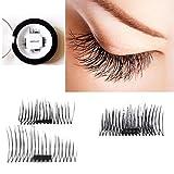 Auwer New Ultra-thin 0.4mm Magnetic Eye Lashes 3D Fiber Reusable False Magnet Eyelashes Extension Fake Eye Lashes Voluminous Makeup (F)