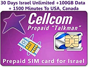 Israel Prepaid Cellcom SIM Card, Including 30 Days Unlimited Israel, USA, Canada + 100GB Data + 1500 Minutes to USA, Canada, Fits Any Size SIM Card Micro Nano + Case iPhone Pin & User Guide