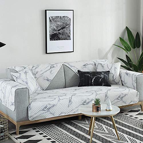 YUTJK Cubierta de sofá de algodón de patrón de mármol,Funda de sofá de Esquina,Fundas de Asiento de sofá de Tela para Sala de Estar,Funda Protectora de Muebles,Blanco_90×210cm