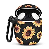 AIRSPO Silicone Case for Google Pixel Buds 2 Floral Print Protective Case Cover Compatible with Google Pixel Buds 2 Earbdus with Keychain (Sunflower)