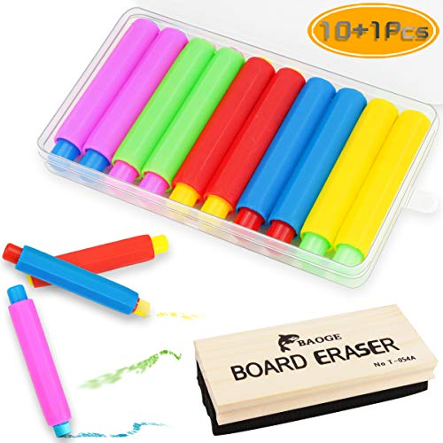 Nexxxi 10 Pcs Colorful Plastic Chalk Holder, Adjustable Chalk Clip with a Wood Chalkboard Eraser and Storage Case for School Supplies