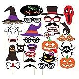 SacJkt Photo Booth Photocall Atrezzo, 22 Piezas DIY Photo Booth, Máscara de Papel Divertida de Calabaza Creativa para Decoraciones de Halloween