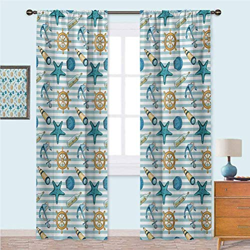 Rod Pocket Curtains Marine Sea Striped Background with Anchor Wheel Starfish Seashell Figures Curtains for Girls Bedroom 108 Inches Long Blue Apricot