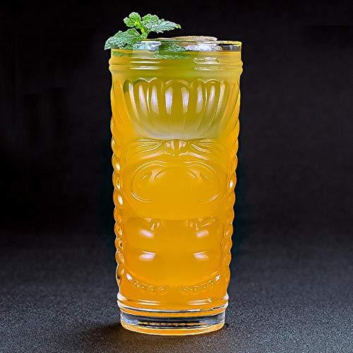 LHSX Copa de vino de dibujos animados Tiki Cup Cóctel Cerveza Cola Creative Glass Drinking Set Bar Home