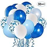 Globos Azules y Blancos, 50 piezas de 12 pulgadas Globos de Confeti Azul y Azul para la Decoración del Banquete de Boda de Cumpleaños para la Decoración del Banquete de Boda de Cumpleaños