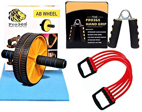 PRO365® Ab Wheel Carver/Hand Gripper/Chest Expander Strengthener (Home Gym Combo)