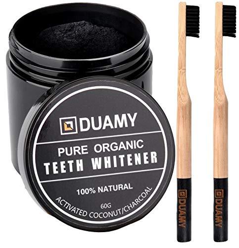Aktivkohle Pulver Zähne Zahnaufhellung. 60 g Aktivkohlepulver zähne + 2 100% biologisch abbaubare, natürliche und ökologische Bambus Zahnbürste für zähne weisser.Aktivkohle pülver zahnaufhellung