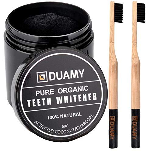 Carbon activo dientes. Blanqueador dental carbon activado y 2 cepillos dientes bambu. Blanqueador dental/charcoal teeth whitening. Pasta, polvo carbon activo vegetal. Kit blanqueamiento dental 60 gr.