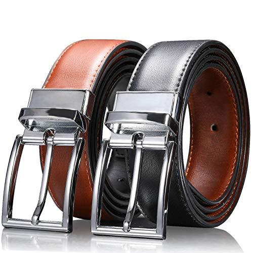 """Zeuste-cinturon hombre,Cinturón Cuero Marrón Negro, Hebilla de cuero reversible de 1.25 """"con caja de regalo con hebilla girada(115CM)"""