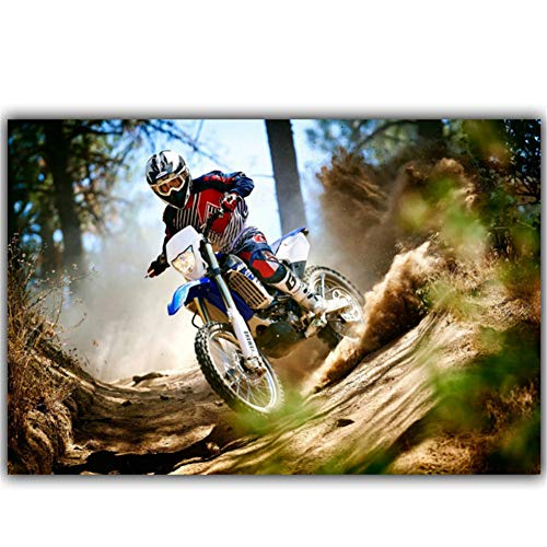 nr Berg Motorfiets mountainbike wedstrijd decoratie mode stof wand poster auto design behang - 50x75cm frameloos