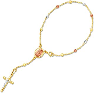 Jewel Tie Solid 14K Three 3 Color Gold 3mm Beads Our Lady Guadalupe Virgin Mary Rosary/Rosario Bracelet - 7.25