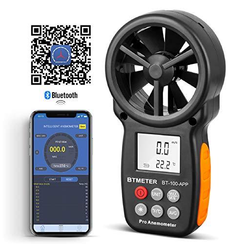 Tragbarer Digitaler Windmesser BT-100APP Windmesser mit Bluetooth und LCD Hintergrundbeleuchtung, Messung der Windgeschwindigkeit Max/Min/AVG und der Windtemperatur, zum Segeln, Klettern, HLK