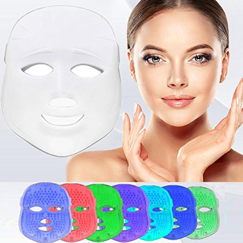 [nueva versión 2018] Havenfly 3 color LED máscara fotón luz piel rejuvenecimiento blanqueamiento facial belleza diaria cuidado de la piel (blanco)