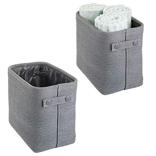 mDesign Juego de 2 cestas de tela con forro y diseño estructurado – Ideales como cestos para baño o como organizador de cosméticos – Práctico organizador de baño de algodón con asas – gris