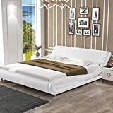SHA CERLIN King Size Bed Frame, Upholstered Faux Leather Low Profile Sleigh Platform Bed with Adjustable Headboard, Wood Slat Support, White