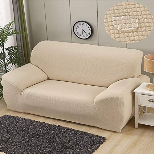 L-LIPENG Sofa Cover, Waterproof Elastic Sofa Cover, Thick L-Shaped Corner Universal Sofa Cover, 1/2/3/4/Seat Non-Slip Furniture Protector (with Two Pillowcases),White,145~185cm