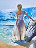 Diamante bordado chica 5D DIY recién llegado pintura de diamantes mujer completo cuadrado redondo mosaico junto al mar decoración del hogar A2 40x50cm