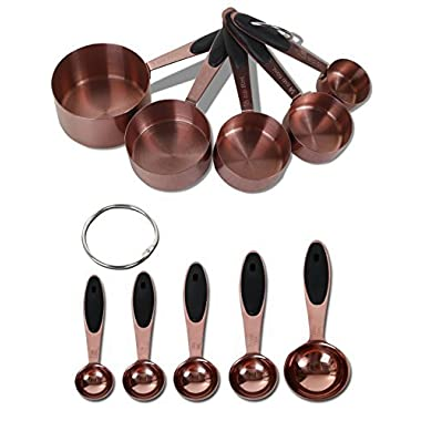 Silky Road 10-Piece Rustic Brushed Copper Measuring Spoons & Cups Set + 2 Clip Rings | DISHWASHER SAFE | Black Rubber Grips | Stackable Nesting Copper-Plated Stainless Steel | Heavy Duty Kitchen Tools
