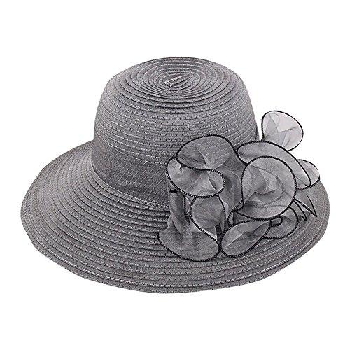 Sombrero con Flor Grande para Mujer De Vestir O De Playa (Gris)